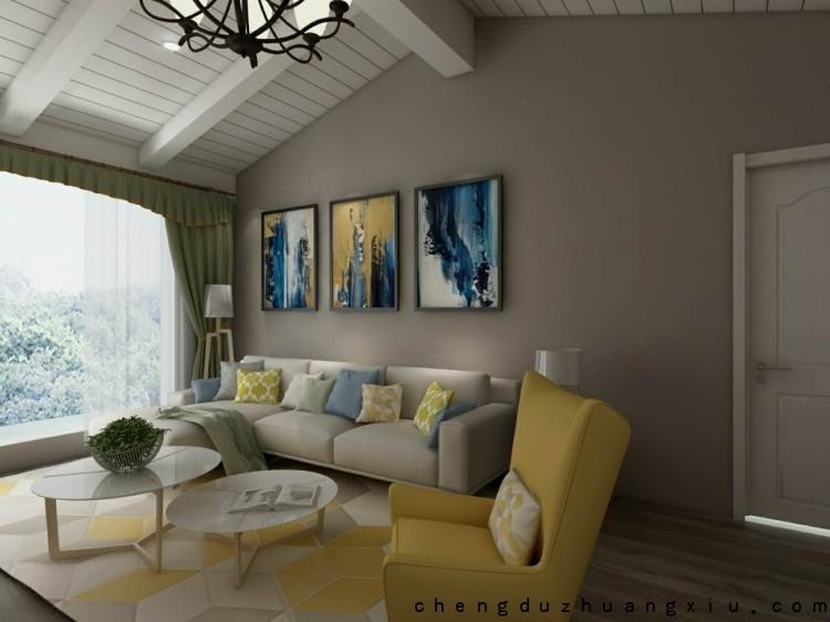 怡丰新城二手房翻新客厅沙发墙设计效果图
